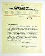 1923 VINTAGE WILLIAM J. BURNS INTERNATIONAL DETECTIVE AGENCY LETTER