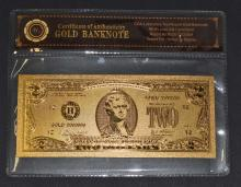 99.9% $2 GOLD BANK NOTE WITH COA