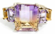 STERLING SILVER AMETHYST, CITRINE, AMETRINE RING - SIZE 9