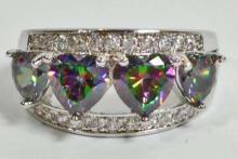 SILVER FILLED RAINBOW TOPAZ RING - SIZE 7