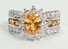 SILVER FILLED CHAMPAGNE TOPAZ RING - SIZE 7