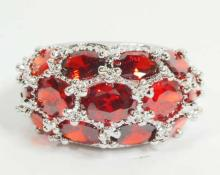 SILVER FILLED RED GARNET RING - SIZE 7