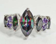 SILVER FILLED RAINBOW TOPAZ & AMETHYST RING - SIZE 8