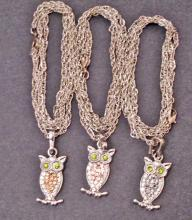 LOT OF 3 SILVER OWL COSTUME JEWELRY NECKLACES