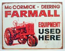MCCORMICK - DEERING FARMING EQUIPMENT ADVERTISING METAL SIGN