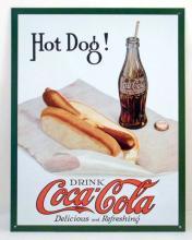 COCA-COLA HOT DOG ADVERTISING METAL SIGN