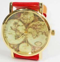 WATCH/OLD GLOBE FACE, RED BAND