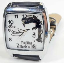 WATCH/ELVIS/SQ WHITE FACE BLACK BAND