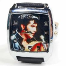 WATCH/ELVIS/PICTURE ON FACE BLACK BAND