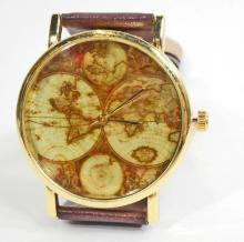WATCH/OLD GLOBE FACE, BROWN BAND