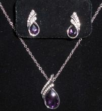 WHITE GOLD FILLED PURPLE AUSTRIAN CRYSTAL NECKLACE & EARRING SET
