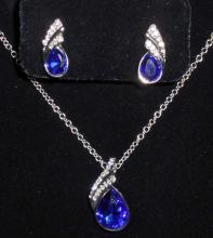 WHITE GOLD FILLED BLUE AUSTRIAN CRYSTAL NECKLACE & EARRING SET