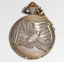 EAGLE W/ AMERICAN FLAG POCKET WATCH WITH CHAIN