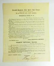 1859 ANTIQUE SEVENTH REGIMENTAL ORDERS NO.13