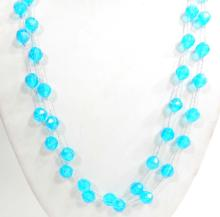 LONG TURQUOISE BEADED ESTATE COSTUME JEWELRY NECKLACE