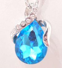 PLATINUM PLATED BLUE AUSTRIAN CRYSTAL WATER DROP PENDANT W/ CHAIN