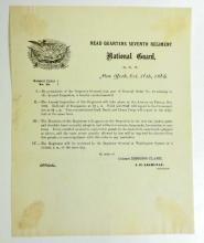 1865 ANTIQUE SEVENTH REGIMENTAL ORDERS NO.19