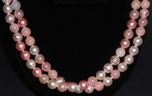 EXTRA LONG PINK ESTATE COSTUME JEWELRY NECKLACE