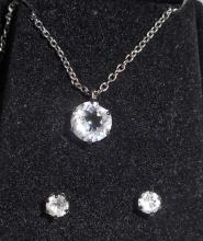 WHITE TOPAZ NECKLACE AND EARRING SET
