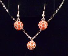 AUSTRIAN CRYSTAL ORANGE PENDANT AND EARRING SET