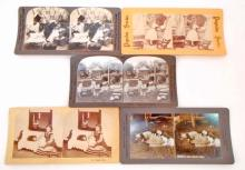 LOT OF 5 ANTIQUE STEREOVIEW CARDS OF CHILDREN AND DOLLS
