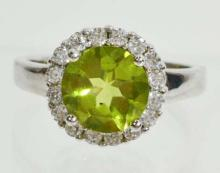 STERLING SILVER PERIDOT RING SIZE 6.5