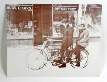 HARLEY DAVIDSON MOTORCYCLE OUTSIDE DRUG STORE PHOTO PRINT