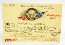 VINTAGE 1927 ELKS LODGE MEMBERSHIP CARD