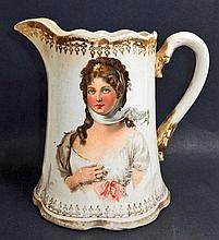 ANTIQUE VICTORIAN PITCHER W/ BEAUTIFUL LADY ON BOTH SIDES