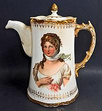 ANTIQUE VICTORIAN CHOCOLATE POT W/ LID AND BEAUTIFUL LADIES ON BOTH SIDES