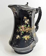 ANTIQUE ENGLISH SYRUP PITCHER W/ METAL LID