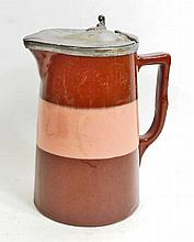 ANTIQUE POTTERY SYRUP PITCHER W/ METAL LID