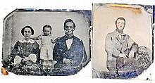LOT OF 2 ANTIQUE TIN TYPE PHOTOS - BOTH APPROX. 3