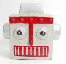 CAST IRON SILVER ROBOT HEAD FIGURAL STILL BANK