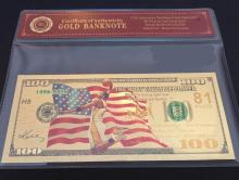 99.9% 24K GOLD KOBE BRYANT BANKNOTE BILL WITH COA