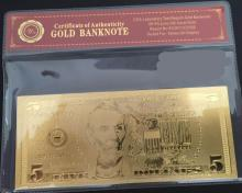 99.9% 24K GOLD 5 DOLLAR BANKNOTE BILL WITH COA