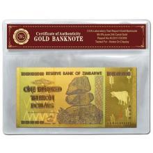 99.9% 24K GOLD ZIMBABWE 100 TRILLION DOLLAR BANKNOTE BILL WITH COA