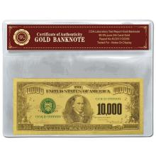 99.9% 24K GOLD 10,000 DOLLAR BANKNOTE BILL WITH COA
