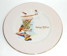 INDIAN VILLAGE LAKEVIEW, OREGON CHINA DECORATIVE PLATE