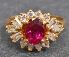 GOLD FILLED RUBY RING -SIZE 10