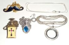 LOT OF 5 ESTATE JEWELRY NECKLACES