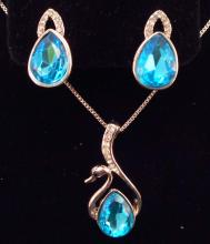 BLUE SWAN AUSTRIAN CRYSTAL EARRING AND NECKLACE SET