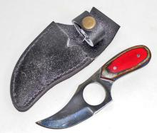 SHORT SKINNER KNIFE W/ WOOD HANDLE & SHEATH