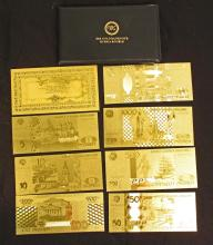 99.9% 24K GOLD RUSSIA BANKNOTE COLLECTION W/ COA