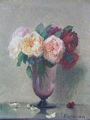 BILLE JACQUES (1880-1943) Vase de roses, 1939