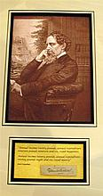 Charles Dickens, a clipped autograph framed with photogravure of same and David Copperfield quotation