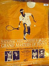 Rod Laver, National Westminister Bank USA Grandmasters of Tennis event poster December 6-9, 1984 signed by Rod Laver, Roy Emerson etc
