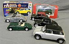 Seven model cars, two still in boxes as new