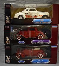 Three Die Cast Metal Collection 1:18 scale models; 1941 Plymouth Pro Street, 1932 Ford 3-Window Coupe & 1937 Ford Convertible