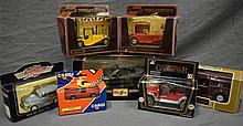 Seven assorted model cars including Matchbox of yesteryear and Corgi;